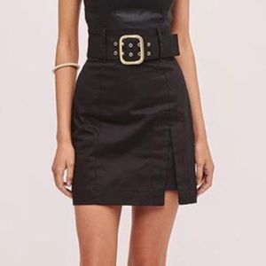 Black belted canvas skirt